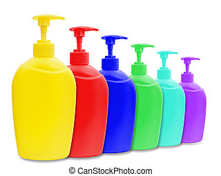 liquid soap bottles - different multicolored plastic bottle...