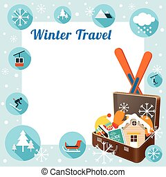 Suitcase with Winter Icons, Frame