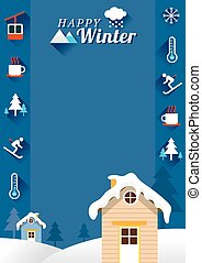 Houses with Winter Icons, Frame