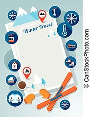 Winter Icons Frame and Background - Snow, Travel and...