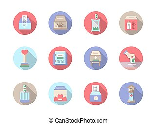 Fundraiser flat color vector icons set - Donations and...