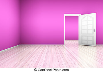 Pink Apartment - A pink apartment with a open door. 3D...