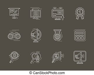 Analytic search information white line vector icon -...
