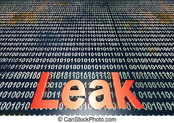 Leak - The word leak over a digital, binary background. 3D...