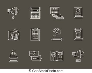 Web development flat white line vector icons