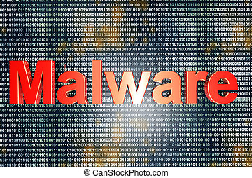 Malware - Computer virus in digital code 3D illustration