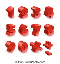 Red shiny 3d thick numbers isolated font on white background