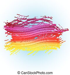 Grunge colorful brush stroke with stripes on light blue background
