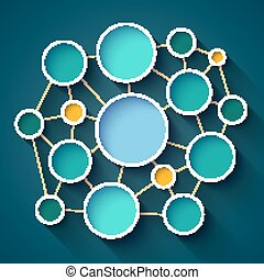 Infographics colorful circles and lines network scheme on dark blue background