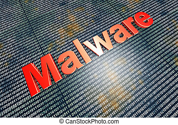 Malware - Computer virus in digital code. 3D illustration.
