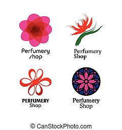Red, green and purple perfumery brand logos set RGB EPS 10...