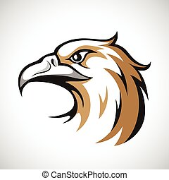 Black, grey and brown eagle head logotype on white...