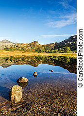 Blea Tarn in the English Lake District - Scenic view of Blea...