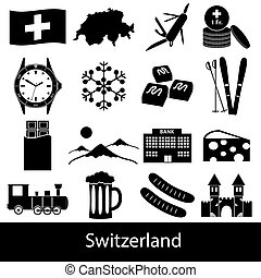 Switzerland country theme symbols icons set eps10