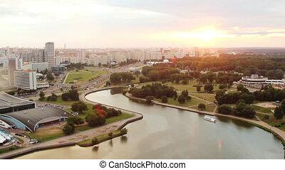 Minsk City Timelapse. River Svisloch. Belarus - Minsk City...