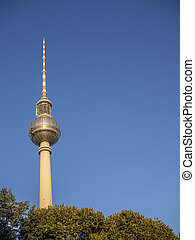 Berlin television tower against a blue sky