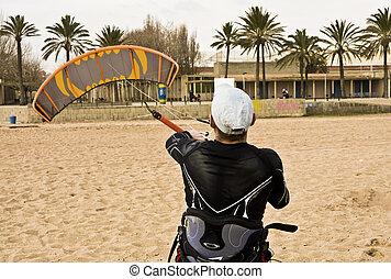 Kitesurfer ready to fly