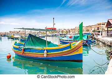 boats in Marsaxlokk harbor
