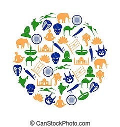 india country theme symbols color icons in circle eps10