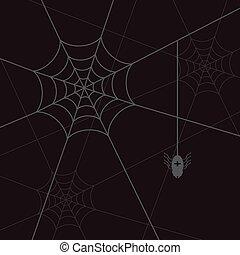 spider web and litle spider black eps10
