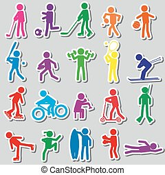 sport silhouettes color simple stickers set eps10