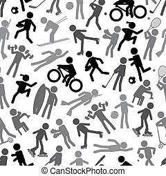 sport silhouettes gray-scale simple icons seamless pattern...