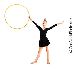 little gymnast doing exercise with hoop isolated on white...