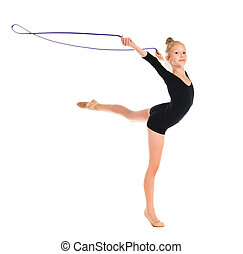 little gymnast doing exercise with skipping rope isolated on...