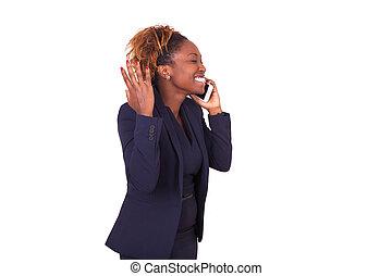 African American business woman making a phone call ,...