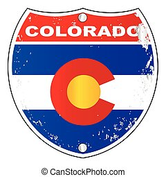 Colorado Interstate Sign - Colorado interstate sign with...