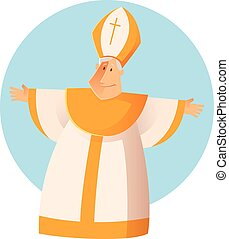 Vector Greeting Pope - Vector image of a happy Greeting...