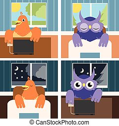 Owls and larks - Vector image of the owls and larks by day...