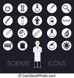 Sciense white icons - Vector image of a set of round sciense...