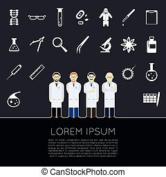 Vector Scientists icons - Vector image of a set of white...