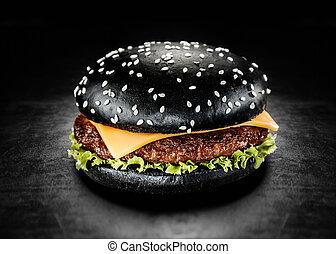 Japanese Black Burger with Cheese Cheeseburger from Japan...