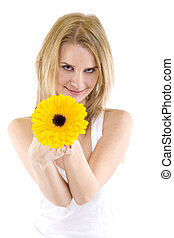portrait of a beautiful woman with a gerbera - Full isolated...