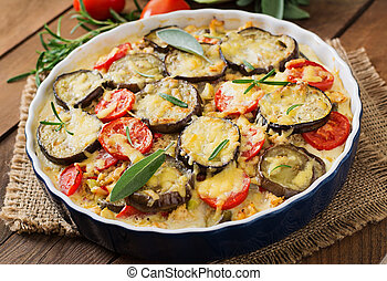 Moussaka (eggplant casserole) - a traditional Greek dish.