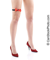 Red high heels isolated