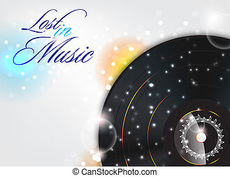 Lost in music - Glossy music background with sparks Lost in...