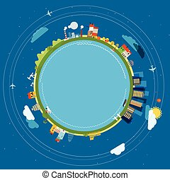 Flat design illustration of the Earth with buildings and...