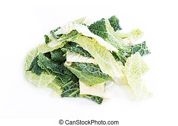 Savoy isolated on white - Savoy Cabbage close-up shot...