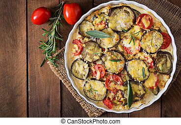 Moussaka (eggplant casserole) - a traditional Greek dish....
