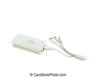 Power bank charger and USB cables on white background