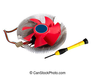 CPU cooler fan and screw-driver isolated on white background