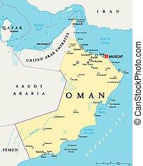 omán, político, mapa