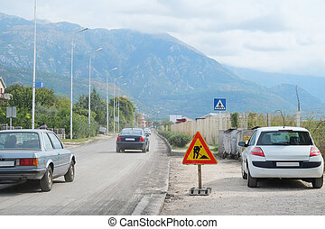 Road works - Tivat, Montenegro, October, 6, 2015: Road works...