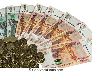 Russian cash on a white background. - Denominations of 1000...
