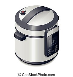 Pressure cooker detailed isometric icon