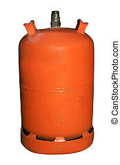 gas cylinder - an spanish butane gas cylinder isolated on a...