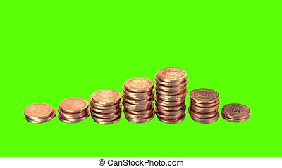 Growing Coins on a Green Background, Realistic 3d render,...